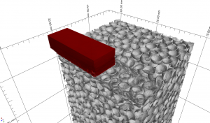 Deformation of a metallic hollow sphere foam under local load.